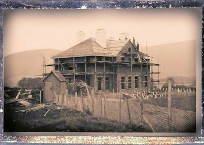Old photo showing construction of Exmoor House